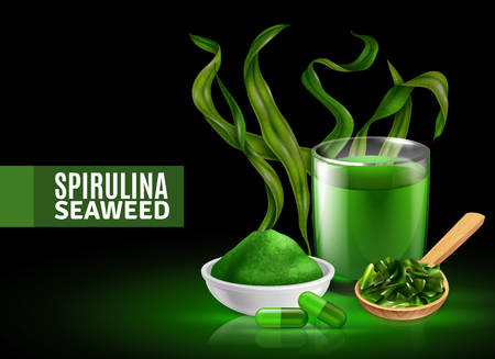 Illustration pour Spirulina seaweed supplement colorful green black background poster with dried powder capsules drink realistic composition vector illustration - image libre de droit