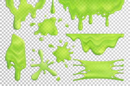 Photo pour Bright green slime drips and blots set isolated on transparent background realistic vector illustration - image libre de droit