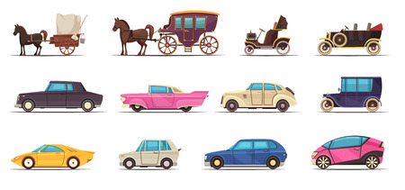 Set of icons old and modern ground transportation including various cars and horse carriages isolated vector illustration