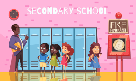 Illustration pour Teacher and secondary school students during conversation on background of pink wall with lockers cartoon vector illustration - image libre de droit