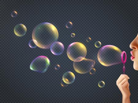 Ilustración de Girl blowing soap bubbles with rainbow reflection on transparent background realistic vector illustration - Imagen libre de derechos