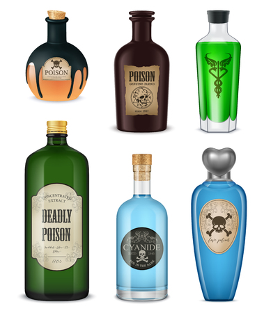 Illustration pour Colored and isolated realistic poison icon set different shapes colors and styles vector illustration - image libre de droit