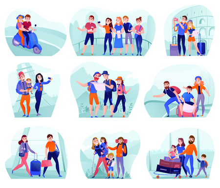 Set of compositions with travelers in various activity with luggage and tourist equipment isolated vector illustration