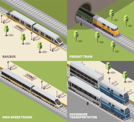 Illustration pour Railbus freight cargo and high speed trains passenger transportation concept 4 isometric icons set isometric vector illustration - image libre de droit