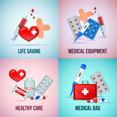 First aid medical emergency kit 4 icons concept square with heart