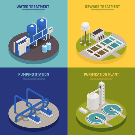 Illustration pour Water cleaning concept icons set with water treatment symbols isometric isolated vector illustration - image libre de droit