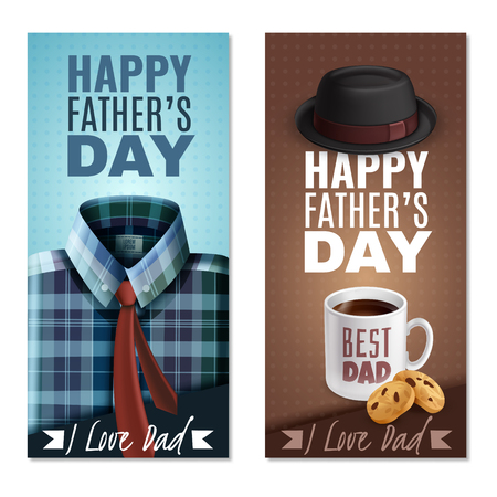 Illustration pour Happy fathers day celebration 2 realistic vertical banners with best dad coffee mug cookies hat vector illustration - image libre de droit