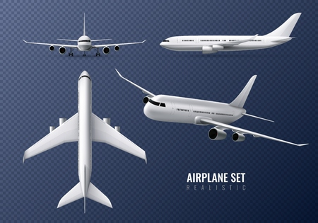 Illustration for Passenger airplane realistic set on transparent background with airliners in different point of view isolated vector illustration - Royalty Free Image