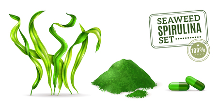 Illustration pour Spirulina supplement seaweed algae as plant dried powder and capsules for daily intake realistic set vector illustration - image libre de droit