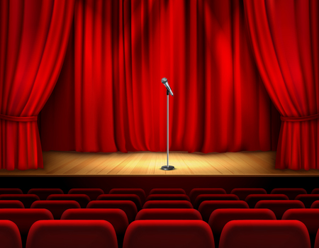 Illustration for Realistic theater stage with wooden flooring and red curtain microphone and seats for spectators vector illustration - Royalty Free Image