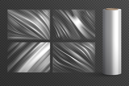 Ilustración de Four isolated blank wrapping texture polyethylene packages and plastic roll on  transparent background realistic vector illustration - Imagen libre de derechos