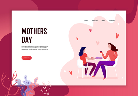 Illustration for Mothers day concept of web banner with mom and daughter during eating of festive pie vector illustration - Royalty Free Image