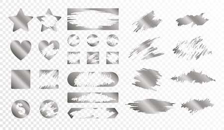 Illustration for Scratch cards of different shape monochrome set isolated on transparent background flat vector illustration - Royalty Free Image
