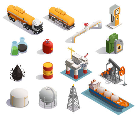 Illustration pour Oil petroleum industry isometric icons set with extraction refinery plant products transportation tanker pipeline isolated vector illustration - image libre de droit