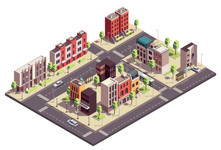 Illustration pour Townhouse buildings isometric composition with urban landscape and streets with city blocks living houses and cars vector illustration - image libre de droit
