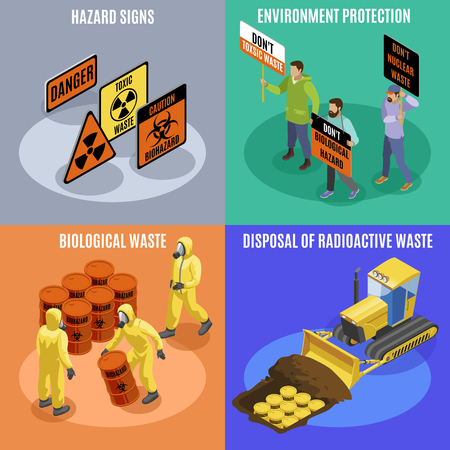 Illustration pour Toxic biological and radioactive waste 4 isometric icons concept with environment protection activists hazard signs vector illustration - image libre de droit