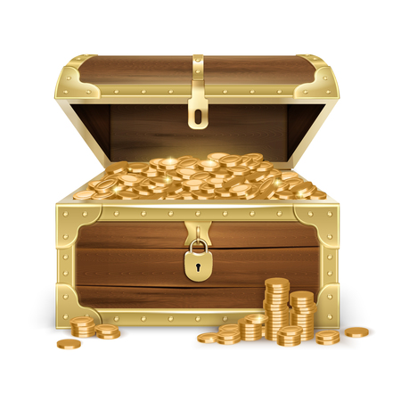 Illustration pour Realistic open old wooden chest with golden coins and lock on white background isolated vector illustration - image libre de droit