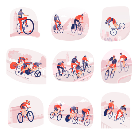 Illustration pour Set of compositions with bicyclists during cycling tour on background of city or nature isolated vector illustration - image libre de droit