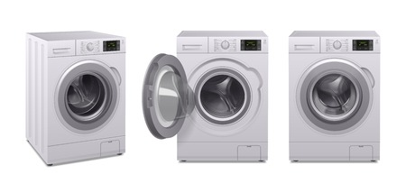 Illustration for Washing machine realistic icon set three product of household appliances in different position vector illustration - Royalty Free Image
