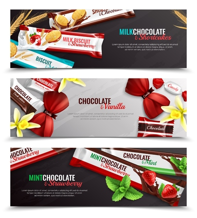 Ilustración de Chocolate candies and biscuits packaging  with vanilla strawberry mint flavor 3 realistic horizontal banners isolated vector illustration - Imagen libre de derechos