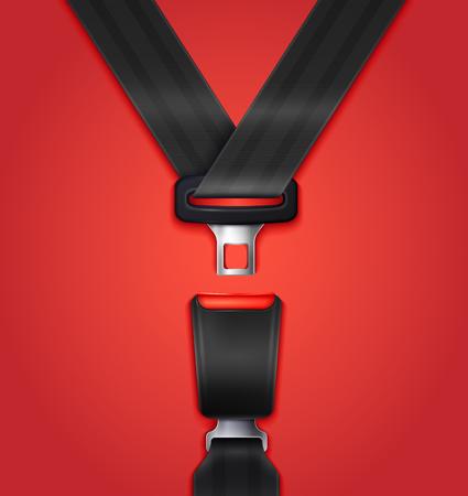 Illustration pour Realistic unblocked passenger seat belt with fastener and black strap on red background vector illustration - image libre de droit