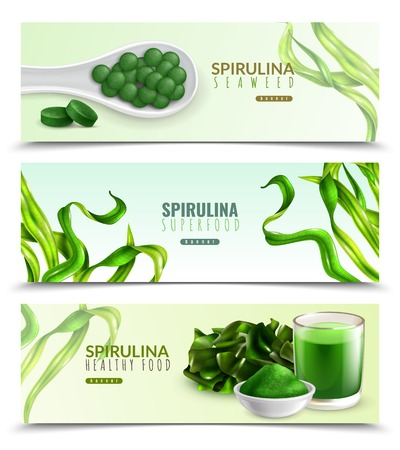 Illustration pour Spirulina supplement healthy food 3 realistic horizontal banners with natural seaweeds powder drink pills tablets vector illustration - image libre de droit