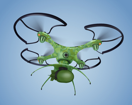 Military drone with bomb realistic composition in hakki color flying above the ceiling vector illustration