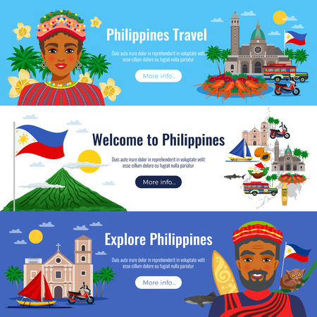 Illustration for Philippines set of horizontal banners with travel objects and landmarks on blue white background isolated vector illustration - Royalty Free Image