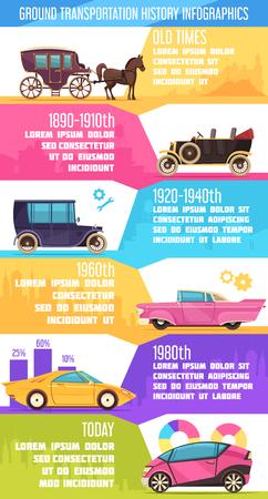 Ilustración de Ground transportation from old time transport till modern cars colorful infographics with charts vector illustration - Imagen libre de derechos