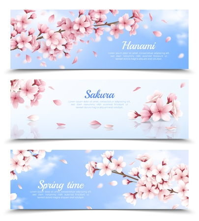 Illustration pour Realistic set of three horizontal banners with blossoming sakura flowers on blue sky background isolated vector illustration - image libre de droit
