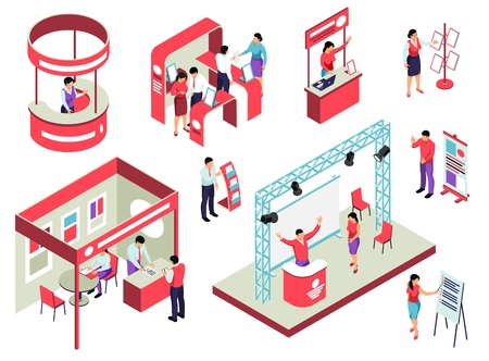 Illustration pour Trade exhibition isometric set with staff and visitors exposition equipment and promotional handouts isolated vector illustration - image libre de droit