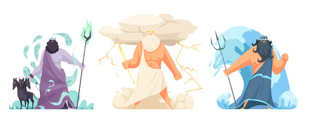 Illustration pour Three powerful ancient greek brothers gods horizontal set with hades zeus and poseidon cartoon isolated vector illustration - image libre de droit