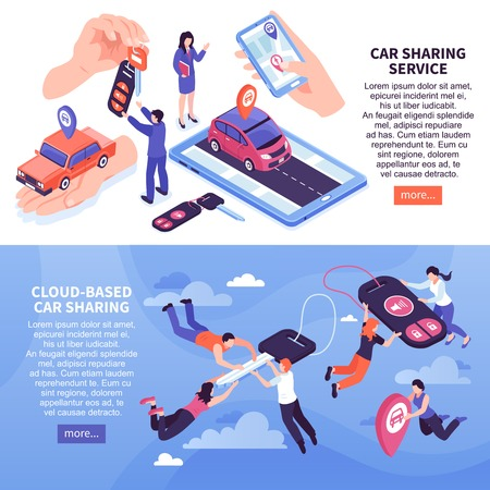 Illustration pour Cloud based car sharing service horizontal banners set 3d isometric isolated vector illustration - image libre de droit
