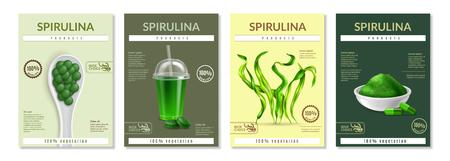 Illustration pour Spirulina health benefits advertising 4 realistic miniposters leaflets with dried seaweed supplements powder pils vector illustration description - image libre de droit
