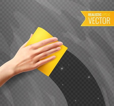 Illustration pour Woman hand wiping dirty glass with yellow napkin transparent background in realistic style vector illustration - image libre de droit