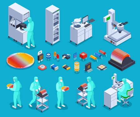 Illustration for Semicondoctor production icons set with technology and science symbols isometric isolated vector illustration - Royalty Free Image