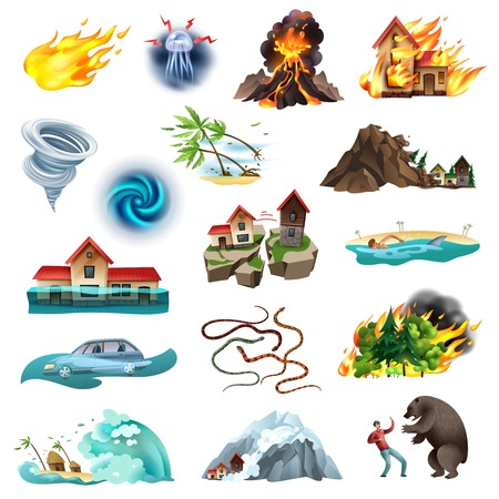 Illustration pour Natural disasters life threatening situation colorful icons collection with tornado forest fire flooding poisonous snakes vector illustration - image libre de droit