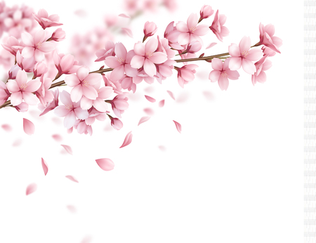 Illustration pour Branch with beautiful sakura flowers and falling petals realistic composition on white background vector illustration - image libre de droit
