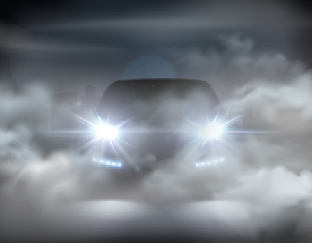 Illustration pour Car lights realistic in fog composition abstract concept with silver car at the night vector illustration - image libre de droit