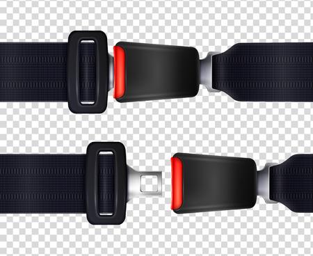 Illustration pour Set of realistic seat belts with metal fastener and black textured strap on transparent background vector illustration - image libre de droit