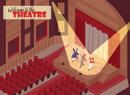Illustration for People watching performance in theatre hall 3d isometric vector illustration - Royalty Free Image