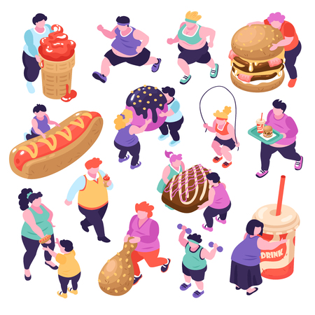 Illustration for Men and women suffering from gluttony and doing sports isometric icons set isolated on white background 3d vector illustration - Royalty Free Image