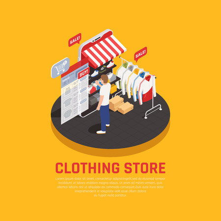 Illustration for Mobile shopping concept with clothing store symbols isometric vector illustration - Royalty Free Image