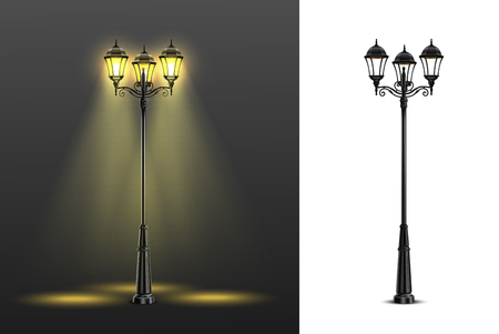 Illustration pour Two realistic street lights composition set with multicolored and black and white compositions vector illustration - image libre de droit