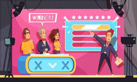 Illustration for Popular tv guess word game television show final moment cartoon composition with host contestants winner vector illustration  - Royalty Free Image