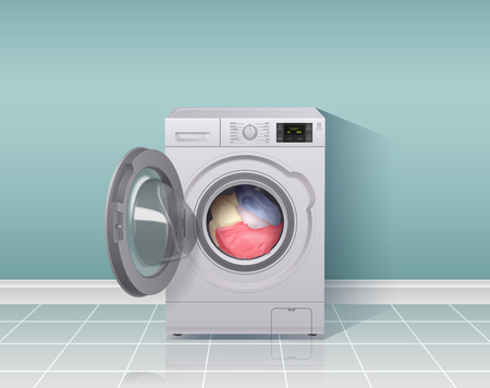 Illustration for Washing machine realistic composition with housework equipment symbols vector illustration - Royalty Free Image