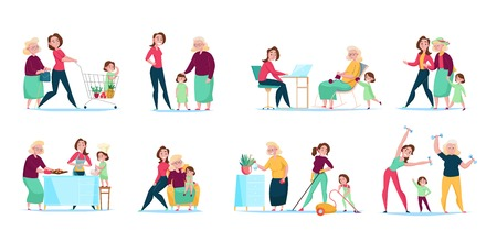 Illustration for Three generations women family daily routine 8 flat compositions horizontal sets with shopping cleaning cooking vector illustration - Royalty Free Image