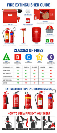 Illustration pour Fire extinguisher infographics with realistic images of extinguisher cylinders and fire-fighting appliances with pictogram icons vector illustration - image libre de droit
