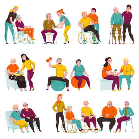 Volunteers helping elderly and disabled people in nursing homes and private apartments flat icons set vector illustration
