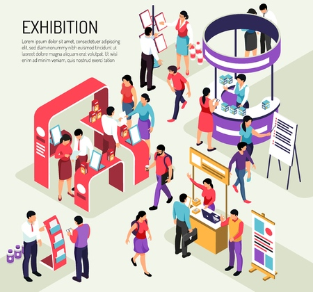 Illustration pour Isometric expo exhibition composition background with editable text description and colourful exhibit stands crowded with people vector illustration - image libre de droit